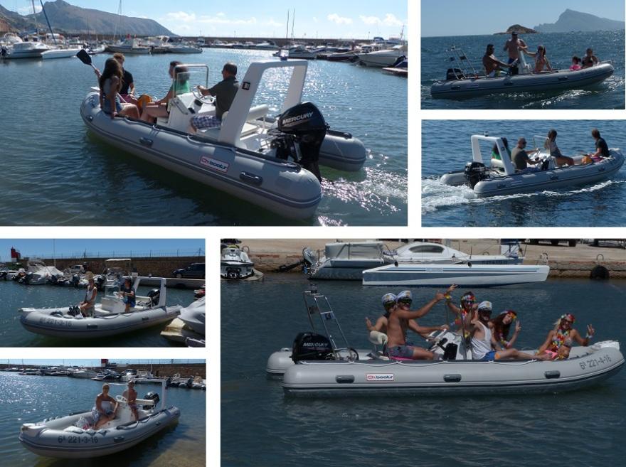Excursion en bateau sur la Costa Blanca dans la province d'Alicante à Espàña. Nos bateaux pneumatiques semi-rigides de type zodiac sont dans le port de Portosenso, à Altea. Ce sont des bateaux de location gonflables entièrement équipés pour passer la jour